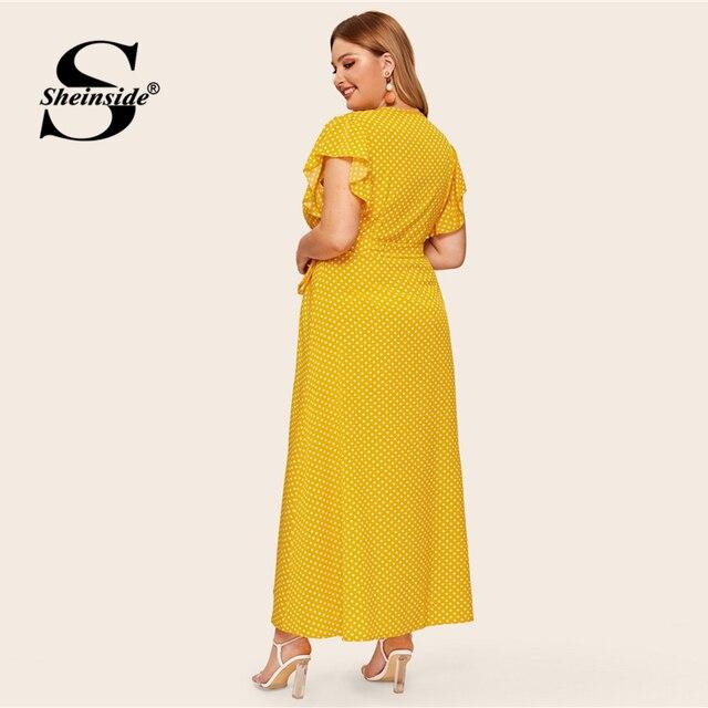 Sheinside Plus Size V Neck Polka Dot Dress Women 2019 Summer Flounce Sleeve Shirt Dresses Ladies Button Up Detail Maxi Dress 1