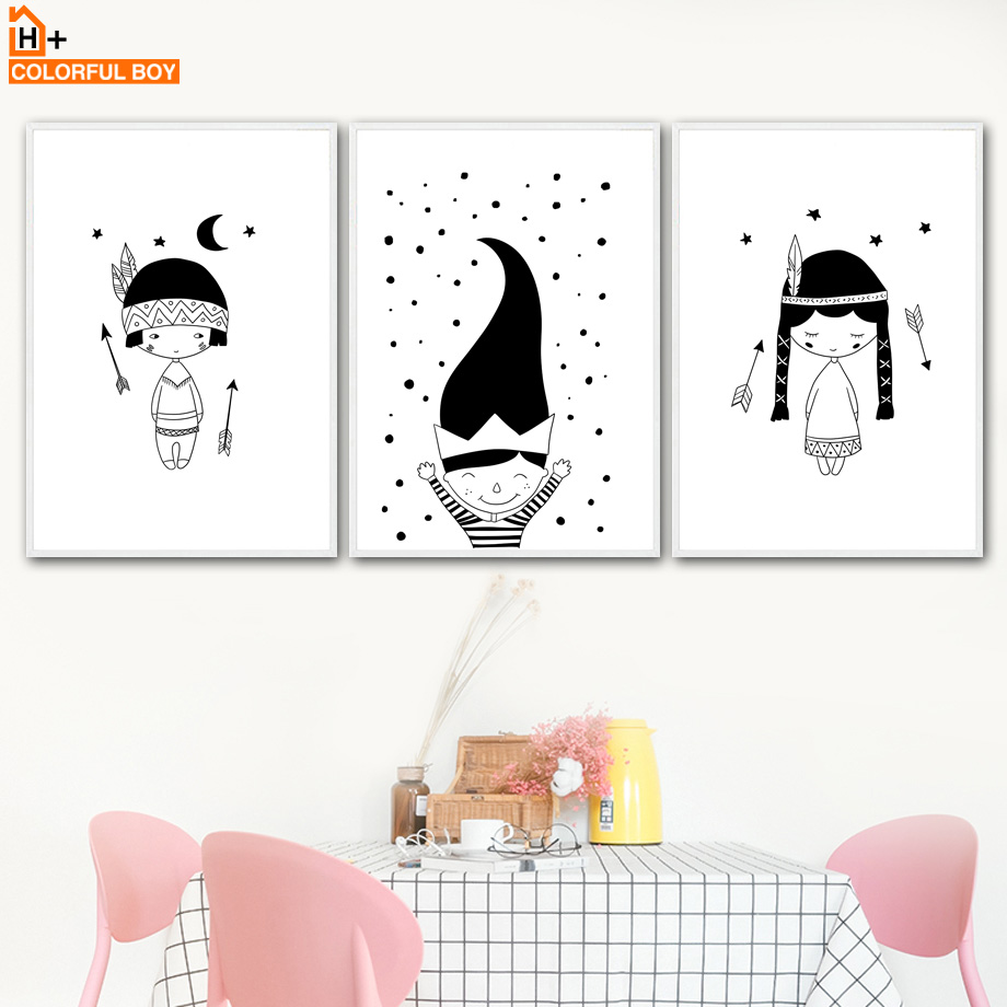 COLORFULBOY Indian Girl Long Hair Wall Art Canvas Painting Black White Nordic Posters And Prints Wall Pictures Kids Room Decor