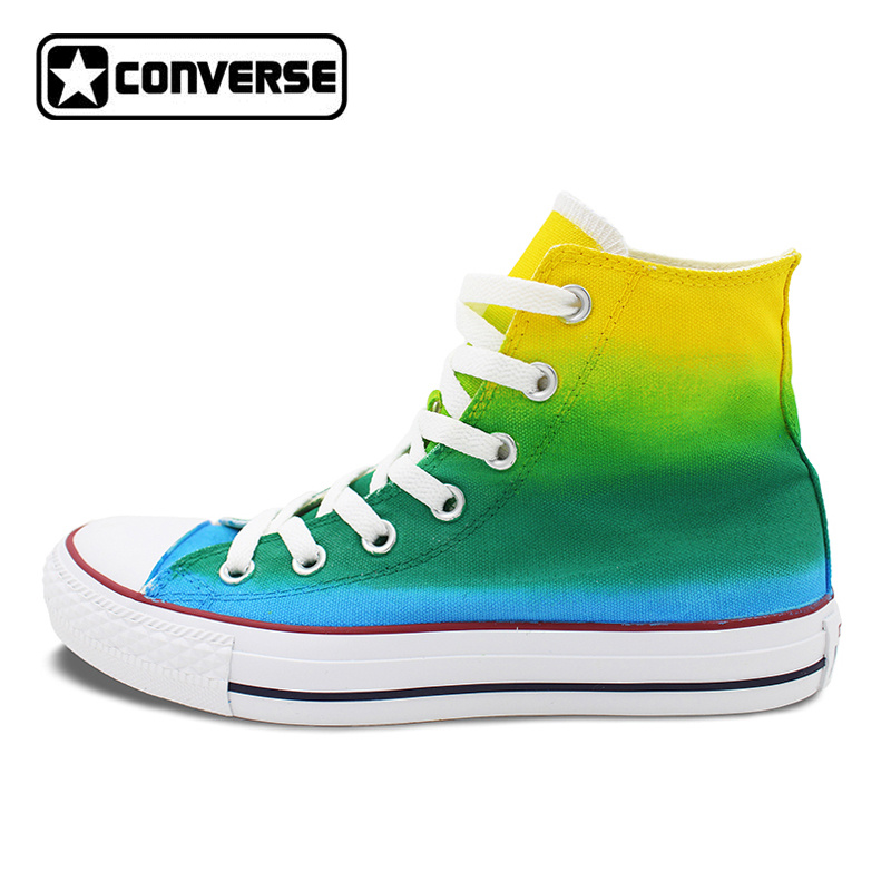 Gradient Color Yellow Green Blue Converse All Star Men Women Shoes Custom Original Design Hand Painted Shoes Boys Girls Sneakers boys girls converse all star hand painted shoes women men shoes pokemon go charizard design high top canvas sneakers
