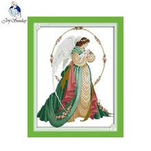 Joy Sunday Angel Mother And Son (2) Counted Cross Stitch DMC DIY Kits For Embroidery Home Decor Needlework R563