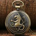 New Cartoon Silver Tone Fullmetal Alchemist Pocket Watch Cosplay Edward Elric with Chain Anime Boys Gift Wholesale