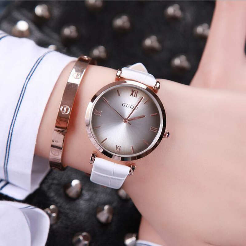 GUOU Brand Simple Fashion Watch Women Watches Roman Women's Watches Leather Ladies Watch Clock saat relogio feminino reloj mujer sbao women s watches sports series of high end leisure couples 2017 watches simple models relogio feminino saat for women a20