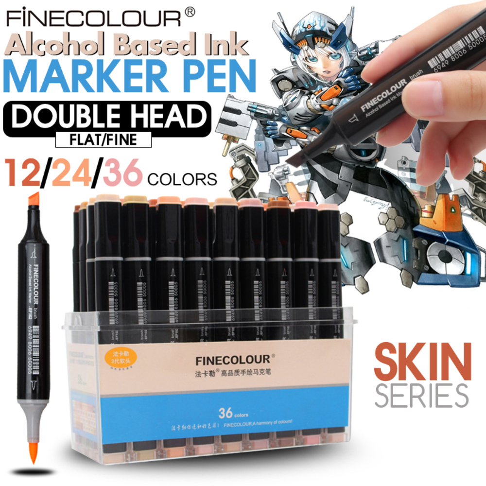FINECOLOUR 12/24/36 Color Professional Artist Sketch Markers Pen, Double Head Skin Art Marker Pen for School Student Supplies