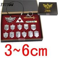 14 Pcs The Legend Of Zelda Action Figures Shield Skyward Sword Blade Weapons Pendants Keychains Necklace