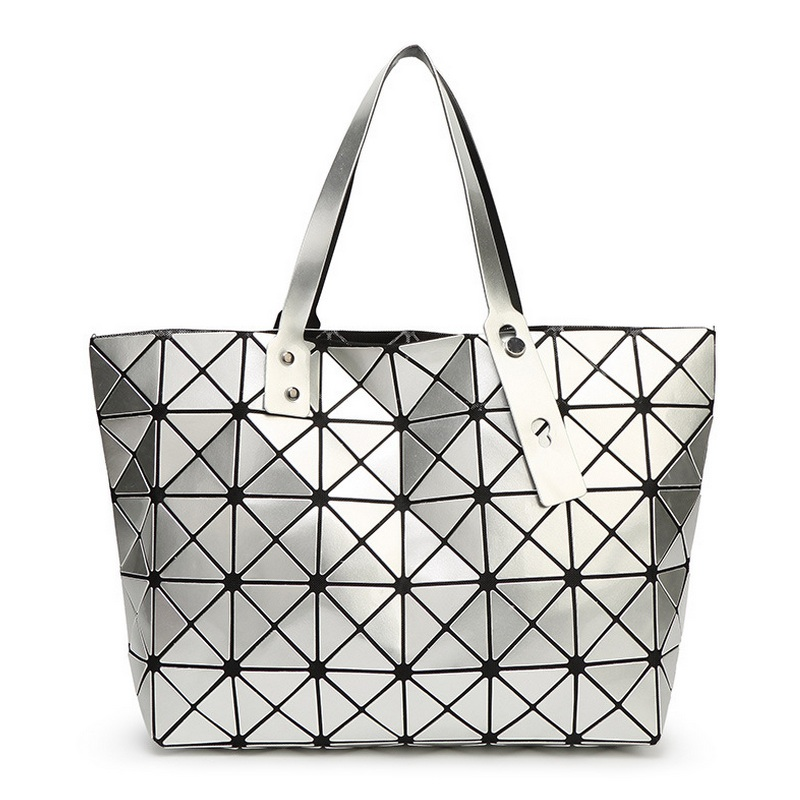 Fashion Folding Casual Tote Women Geometric Top-handle Bag Female PU Shoulder Bags Ladies Diamond Lattice Sequins Plain Handbag