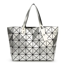 Fashion Folding Casual Tote Women Geometric Top-handle Bag Female PU Shoulder Bags Ladies Diamond Lattice Sequins Plain Handbag
