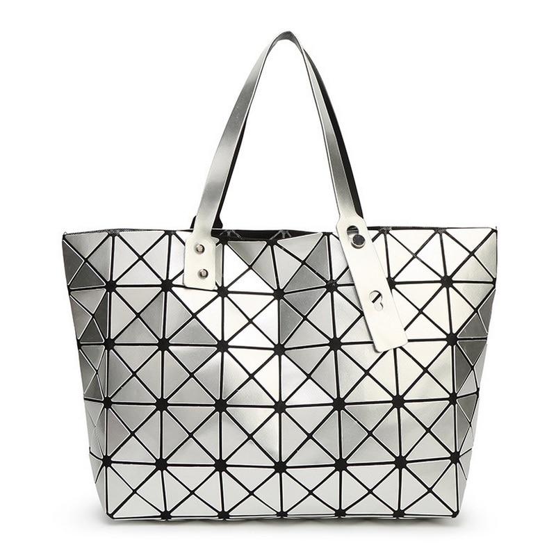 Folding Handbag Fashion Casual Tote Women Geometry Top-handle Bag Female Shoulder Bags Diamond Lattice