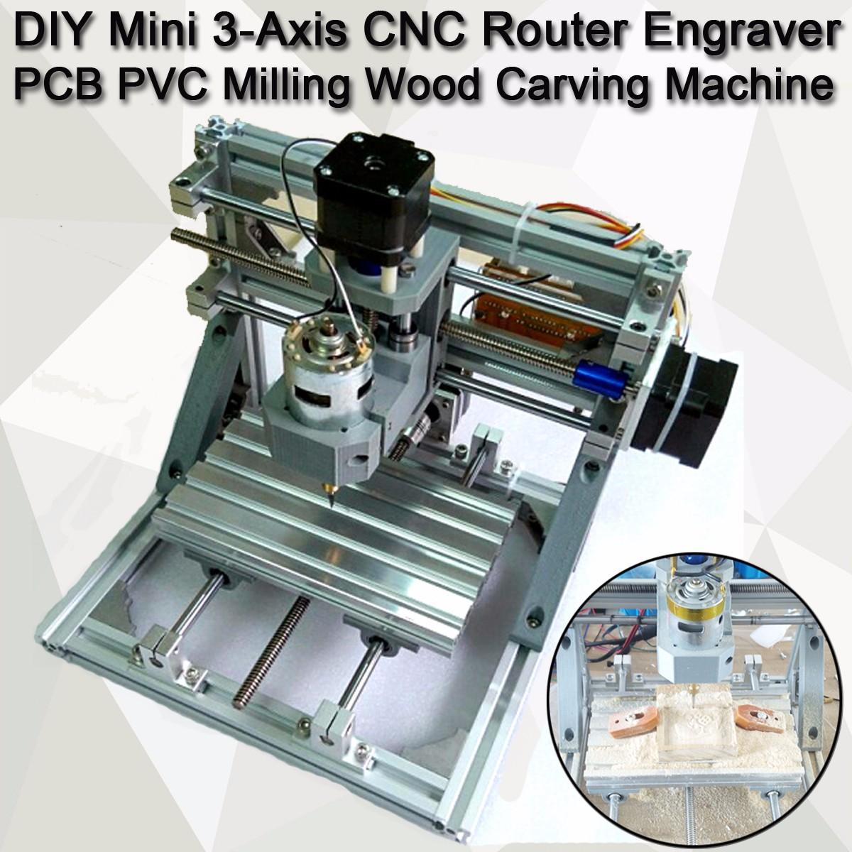 DIY Mini 3 Axis Router CNC 1610 GRBL Control CNC Machine Engraver PCB PVC Milling Wood Carving Machine working area 16x10.5x3cm