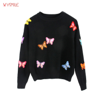 YSMILE Y Fashion Women Sweater Butterfly Embroidery Knitted Autumn Winter O Neck Sweet Female Warm Sweater
