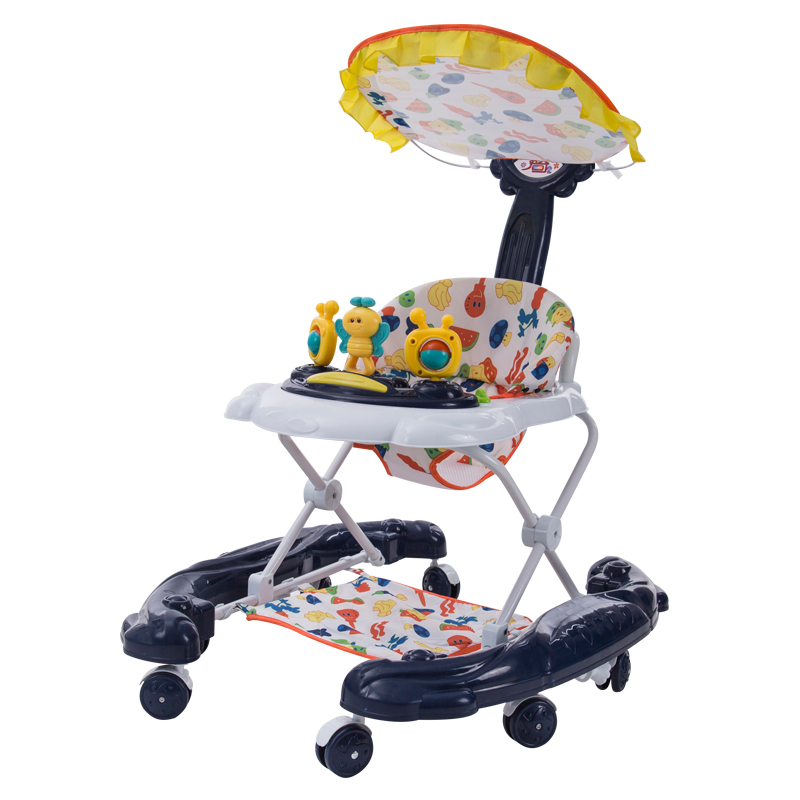 Baby Walker Baby First Steps Car Toddler Trolley Adjustable Sit-to-Stand Walker for Kid's Early Learning Educational Musical цены онлайн