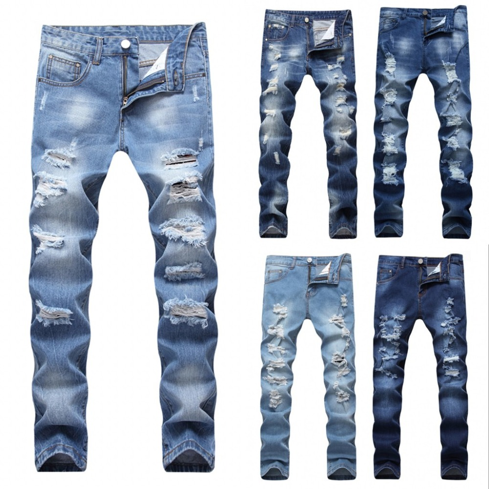 2018 Designer Mens Ripped Jeans Pants Slim Fit Light Blue Denim Joggers Male Distressed