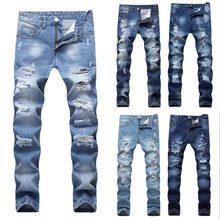 b819a1c94d 2018 diseñador de los hombres pantalones vaqueros rasgados Slim Fit azul  claro Denim Joggers hombre Distressed