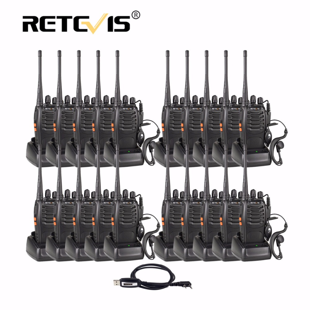 20pcs Retevis H777 Portable Walkie Talkie 3W UHF 400-470MHz Handheld Hf Transceiver Two Way Radio Communicator Ham Radio Station