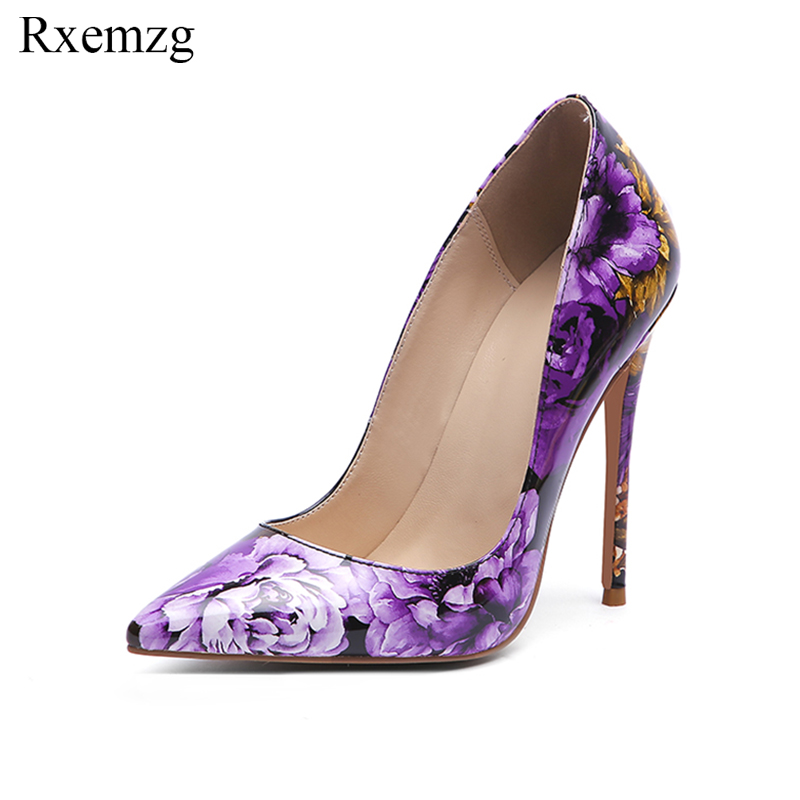 Rxemzg Patent Leather Elegant Printing Flowers Purple Pumps Pointed Toe High Heels Shallow Ladies Pump Shoes Plus Size 11 33-45