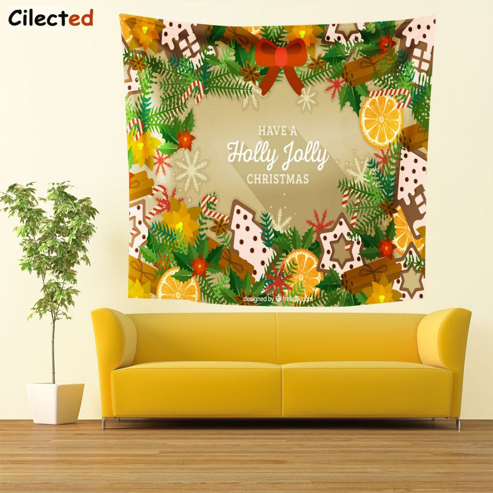 Cilected Bells Tree Pattern Christmas Decoration Tapesrty Hippie ...