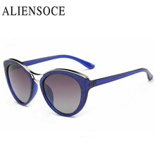 New Fashion Cat Eye Sunglasses Women White Frame Gradient Polarized Sun Glasses Driving UV400 Aluminium Eyewear Box