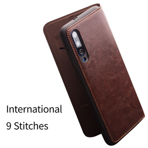 Image 4 - Qialino couro genuíno slot para cartão da aleta caso para xiao mi 9 moda vintage proteção completa capa de telefone para xiao mi 9 6.39 polegada