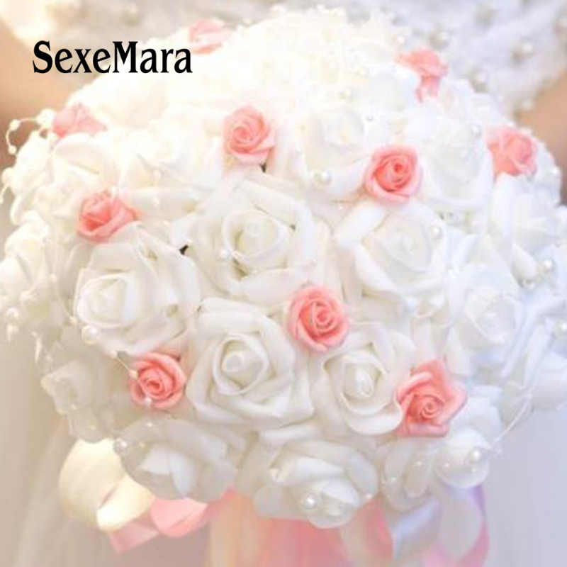 Artificial Wedding Bouquets.2018 White Pink Artificial Wedding Bouquet With Pearls Bridal Bridesmaids Bouquets Flower Girl Bouquet