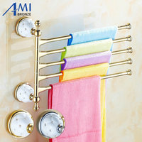 63GD Series Golden Polish 5Pcs Towel Bar With Diamond Brass Adjust Swivel Towel Rack With Hook