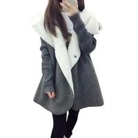 Women Fleece Warm Thicken Cardigans Coat Women Wool Blends Long Loose Casual Hooded Tops Autumn Winter