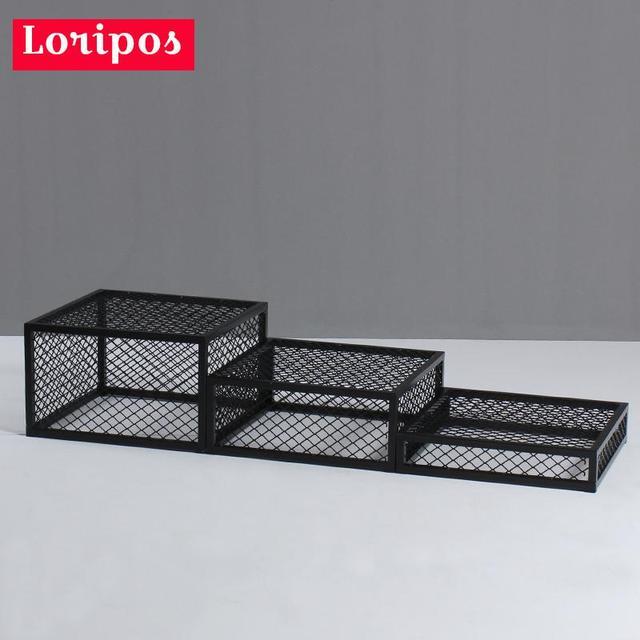 clothing store metal square case black platform model floor stand