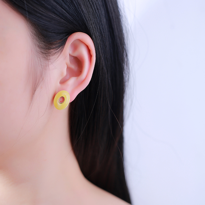 JIUDUO Fashion explosion models Simple wild Korean earrings natural amber beads sterling silver hypoallergenic earrings