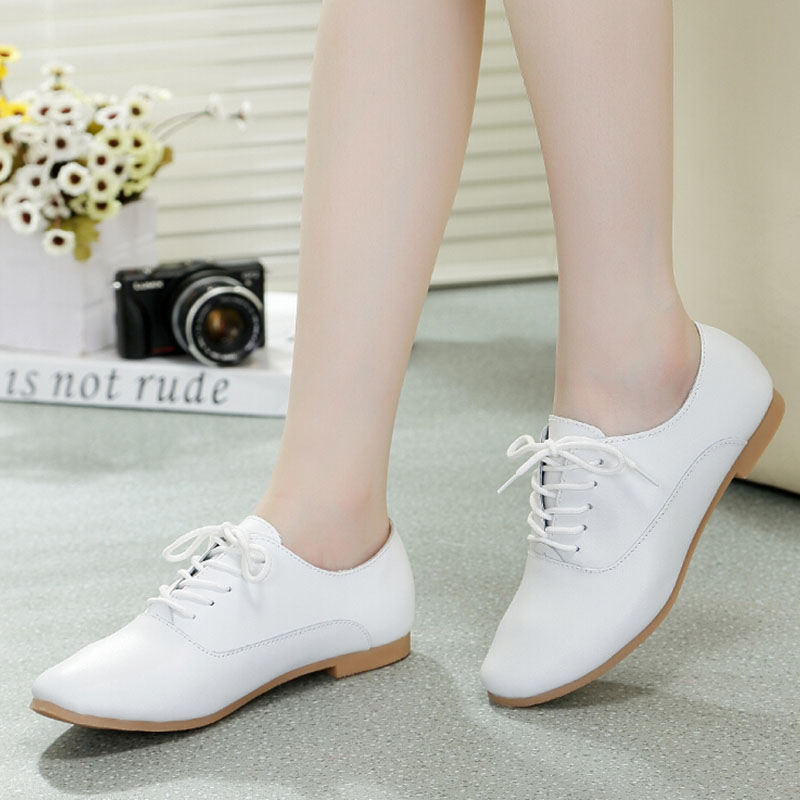 Nice Fashion Cute Small White Shoes Genuine Leather Comfortable Flats Shoes Popular low-top Lacing Pointed Toe Single Shoes