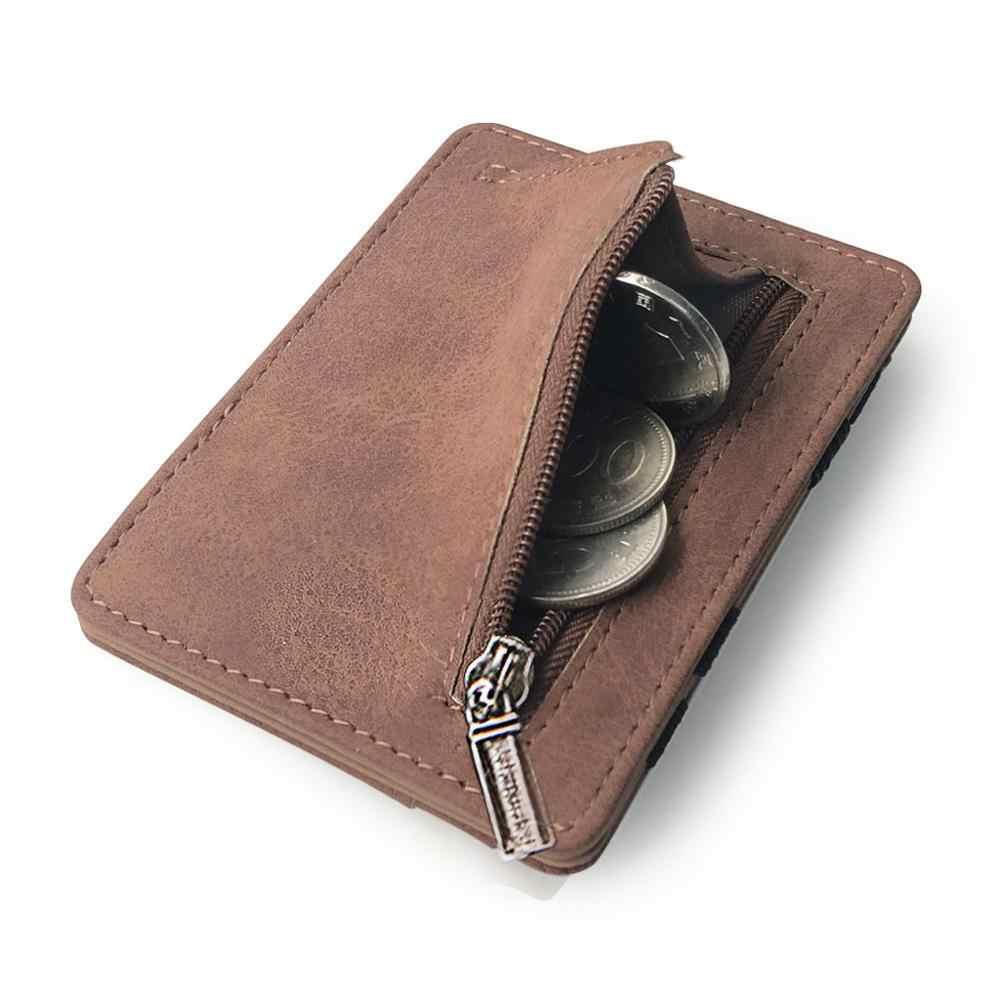 Cartera de cuero para hombre, tarjetero de tela esmerilada, tarjetero, caja contenedora de tarjetas, monedero, BILLETERA, tarjetero de crédito $ D