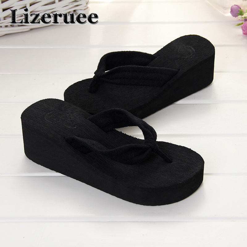 2018 Style Sweet fashion flip flops slope with Student colorful Non-slip resort beach sandal and high heels slippers Q31 купить в Москве 2019