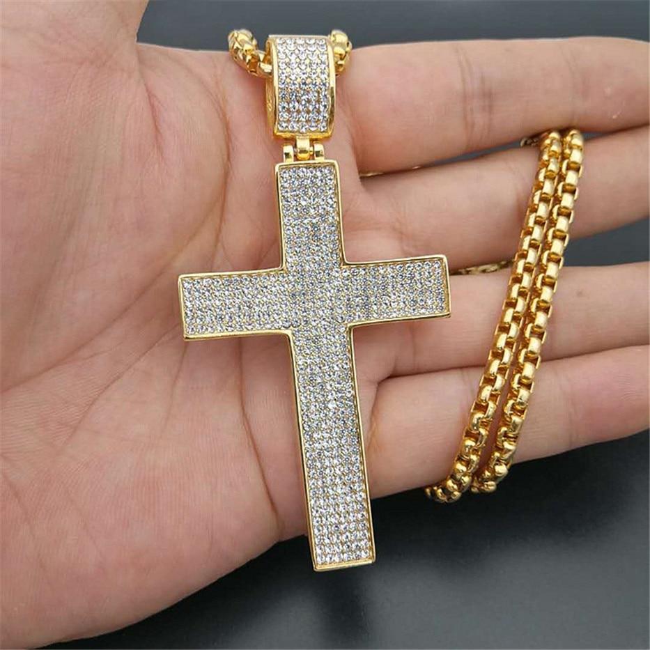 Collier pour hommes glacé grande croix pendentif avec chaîne en acier inoxydable couleur or strass collier Hip Hop Bling bijoux