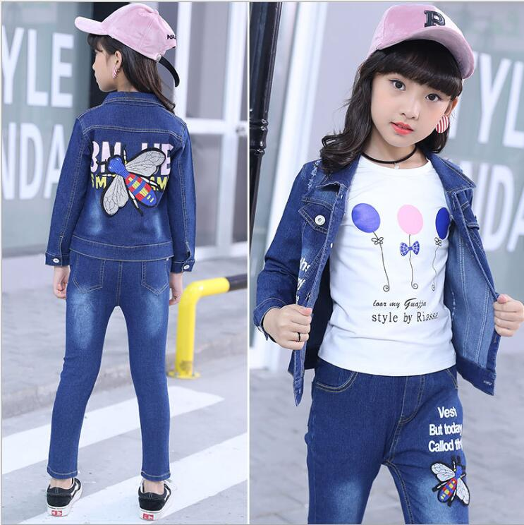 Baby Fashion Clothing Kids Girls Cowboy Suit Children Girls Sports Denim Clothes bee embroidery Jacket+T-shirt+ Pants 3Pcs set children s clothing spring high quality cowboy three piece suit of the girls flowers fashion baby suit denim set for infants