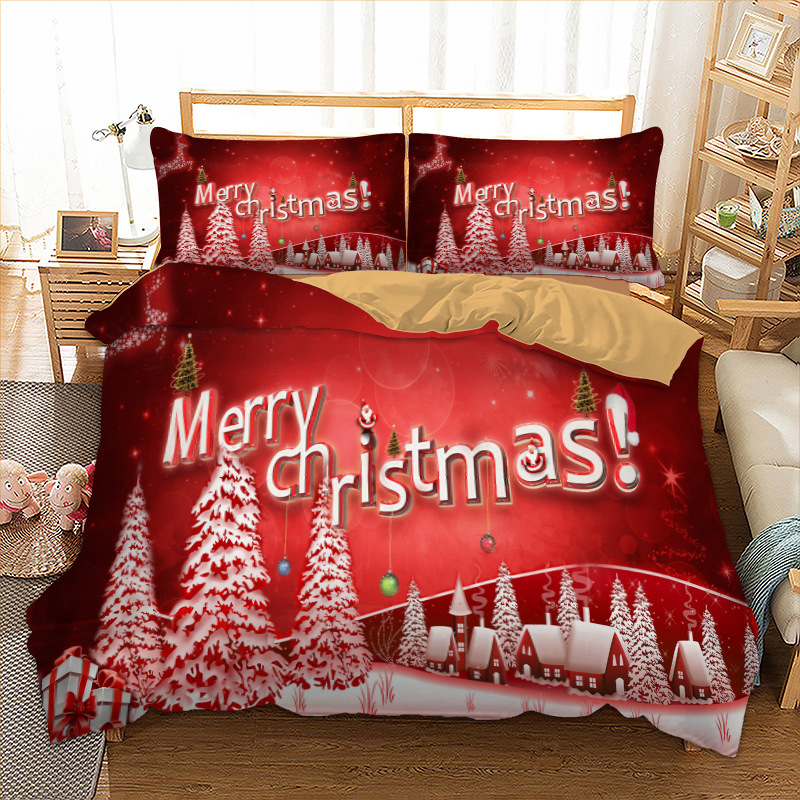 christmas bedding set twin full queen king au single uk double size xmas duvet cover pillow. Black Bedroom Furniture Sets. Home Design Ideas