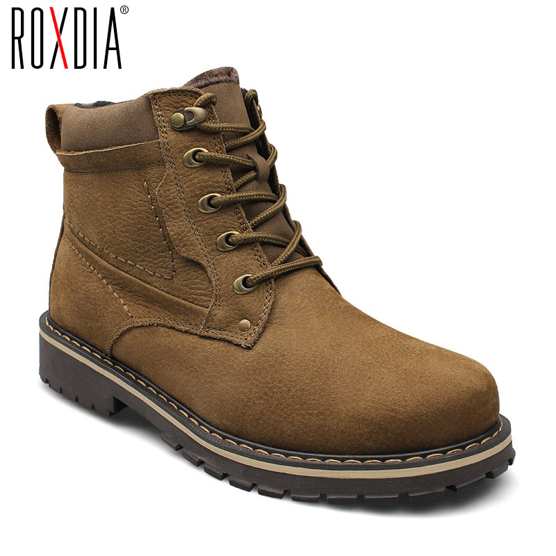 ROXDIA plus size 39 50 genuine leather men boots man shoes with fur male winter boots