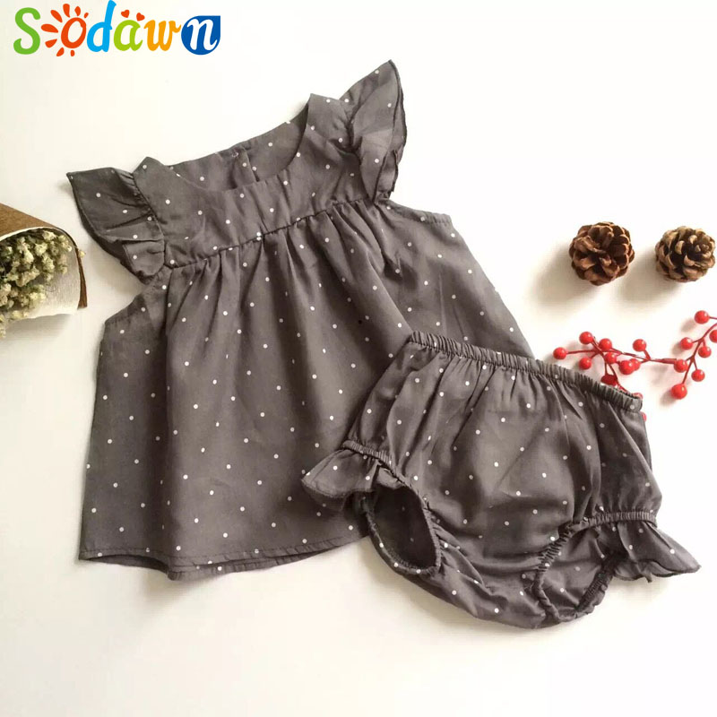 Sodawn 2018 Fashion Summer Style DOT Baby Girl Clothes COTTON Clothing Set Baby Clothing [jilly] summer style baby girl kids clothes bow princess clothing set baby girls clothes children clothing fashion 3 11age hot