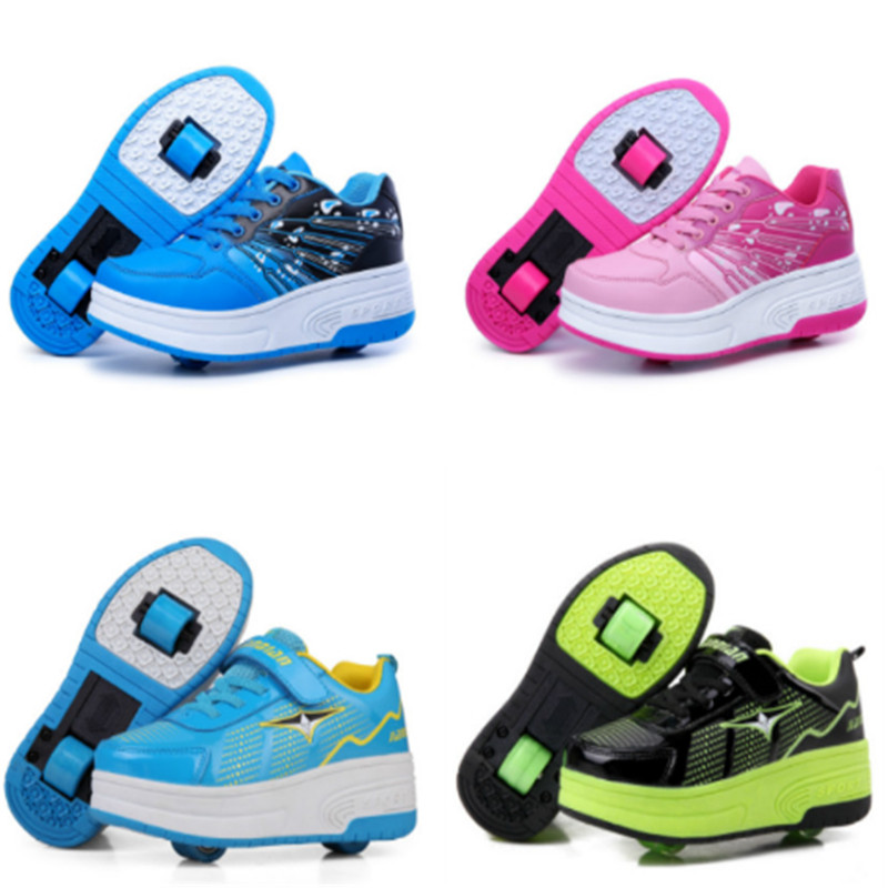 EUR 28-43 NEW Children Junior Roller Skate Shoes Kids Sneakers With Two heelies Boys Girls Wheels Shoes Adult Casual boys Shoes купить в Москве 2019