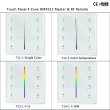 T11-1/T12-1/T13-1/T14-1 Touch Panel 4 Zone DMX512 Master & RF Remote for single color/color temperature/RGB/RGBW led strip