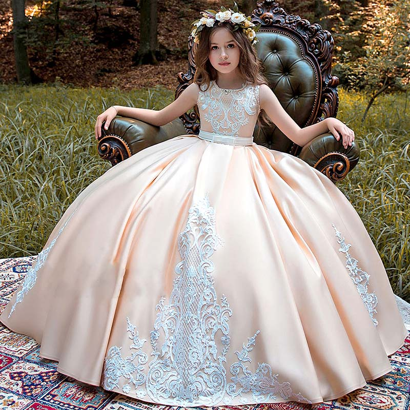 New Long Sleeve First Communion Dresses O-neck with Bow Sash Flower Girl Dresses Ball Gowns Custom Made Vestidos