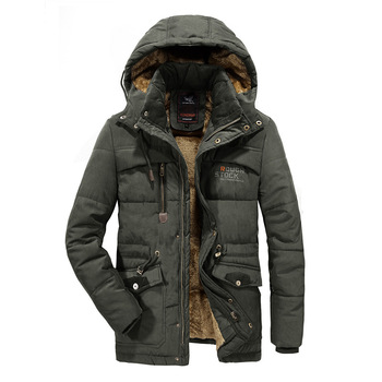 Men Winter Jacket 6XL 7XL 8XL Thick Warm Parka Fleece Fur Hooded Military Jacket Coat Pockets Windbreaker Jacket Men