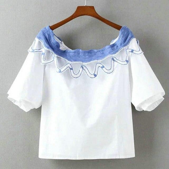 Blanco del cordón del ganchillo camisa de primavera 2016 mujeres Top ...