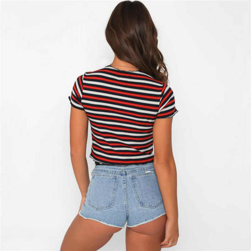 ffee39f8d552 ... Women Casual Red Striped Cropped Top Shirt Tumblr Vintage Cotton T-shirt  Fashion 2019 Summer ...