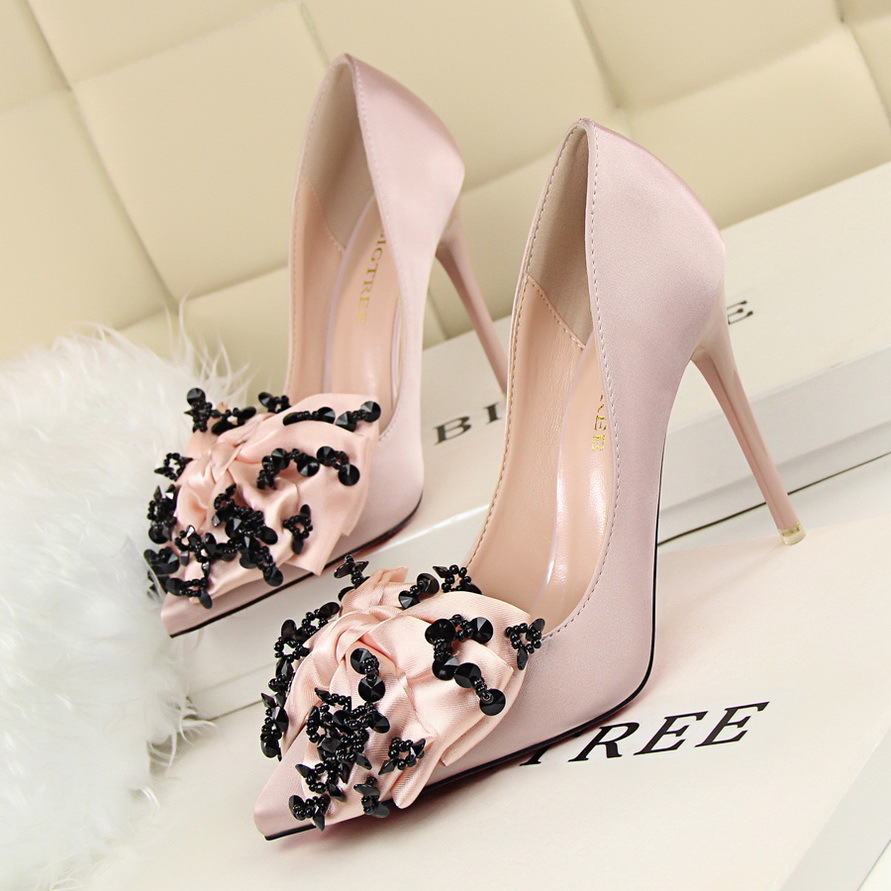 HOT 2016 Sexy Bow High Heels Women Pumps Stiletto Thin Heel Wedding Party Shoes Pointed Toe High Heels Shoes