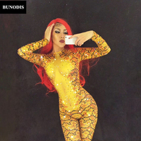 BU003 Gold Snake 3D Printed Jumpsuit Sparkling Crystals Bodysuit Nightclub Party DJ DS Singer Stage Wear Women Sexy Costumes