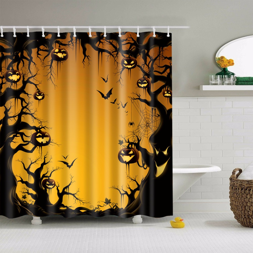 LFH 180180cm Happy Halloween Shower Curtain Bath Waterproof Fabric Bathroom Cozy Lovely Decor Non Toxic In Curtains From Home