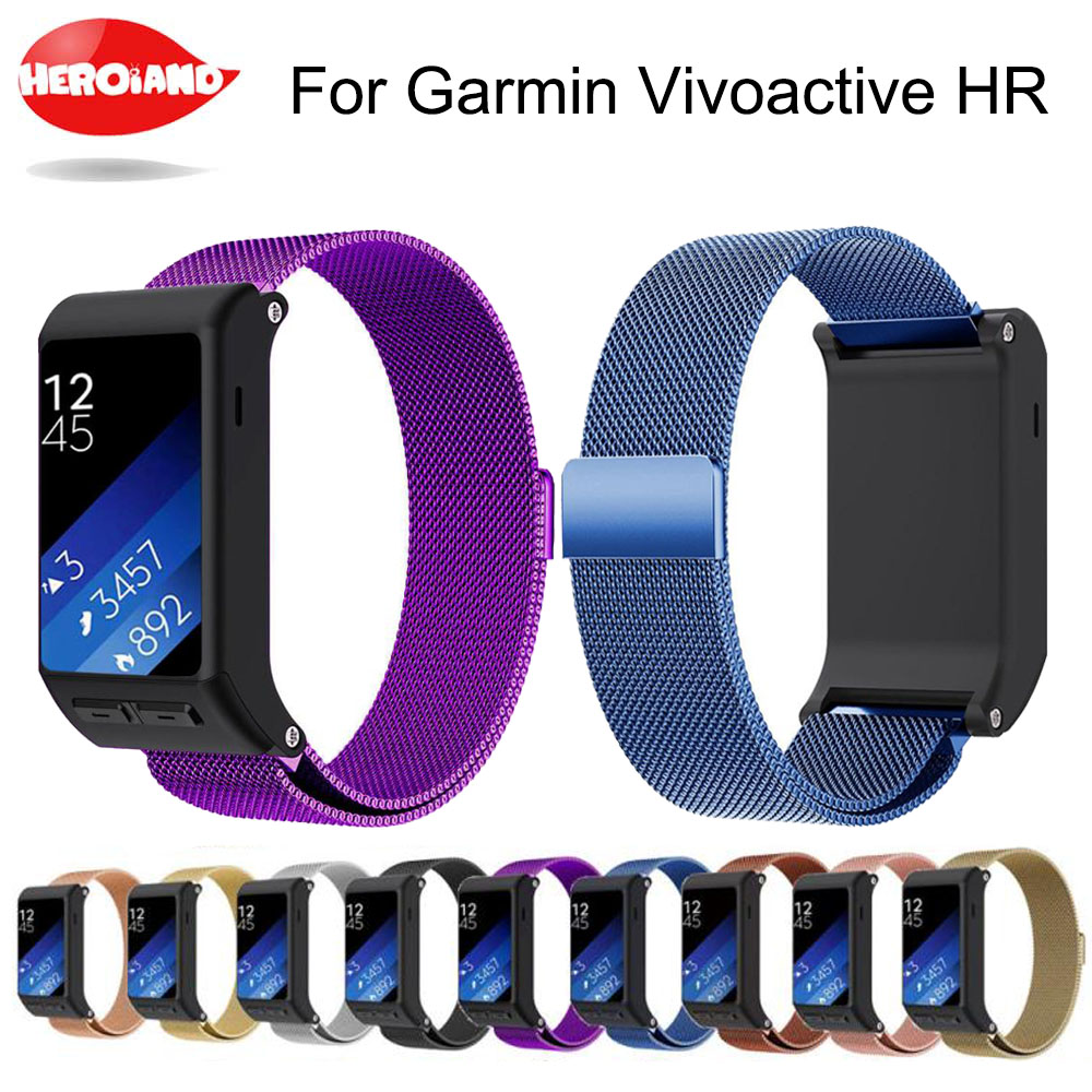 Hot Sale 24cm watchband Accessory Wristbands Milanese <font><b>Magnetic</b></font> Loop Stainless Steel Band wrist <font><b>strap</b></font> For <font><b>Garmin</b></font> vivoactive HR image