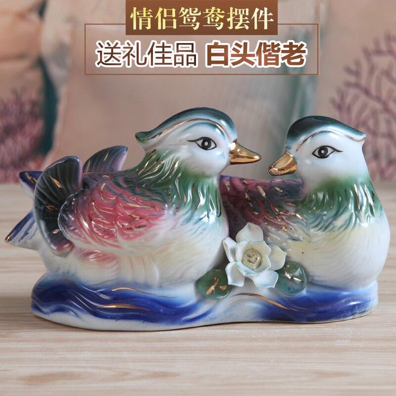 svatební dekorace řemesel ručně pár keramických ozdobných Yuanyang bytové zařízení dekorativní svatební dárek kreativní keramika