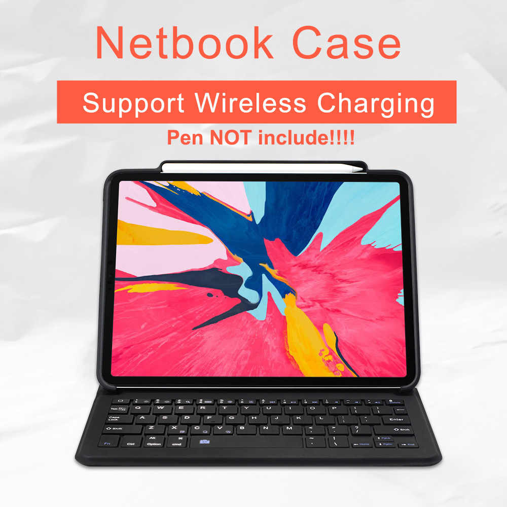 For iPad Pro 12 9/11 Keyboard Case For iPad Pro 12 9 2018,WOWCASE Smart  Leather Support For Apple Pencil Charging Tablet Cover
