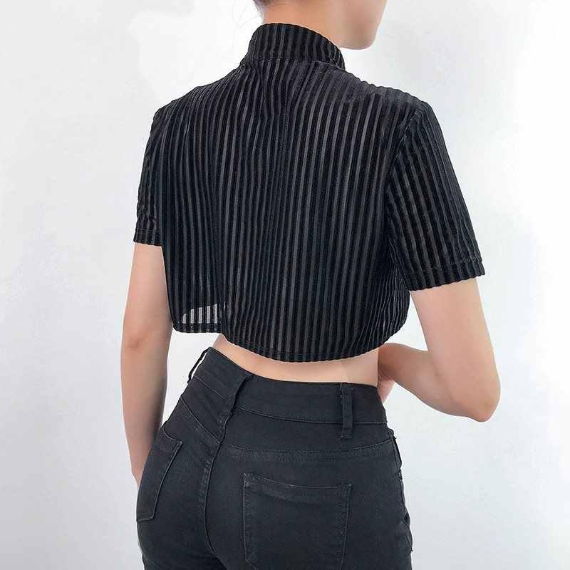 Лето 2019 Готическая бархатная футболка для женщин Китайский винтажный черный укороченный топ со стоячим воротником Сексуальная футболка повседневные футболки хип хоп для девушек