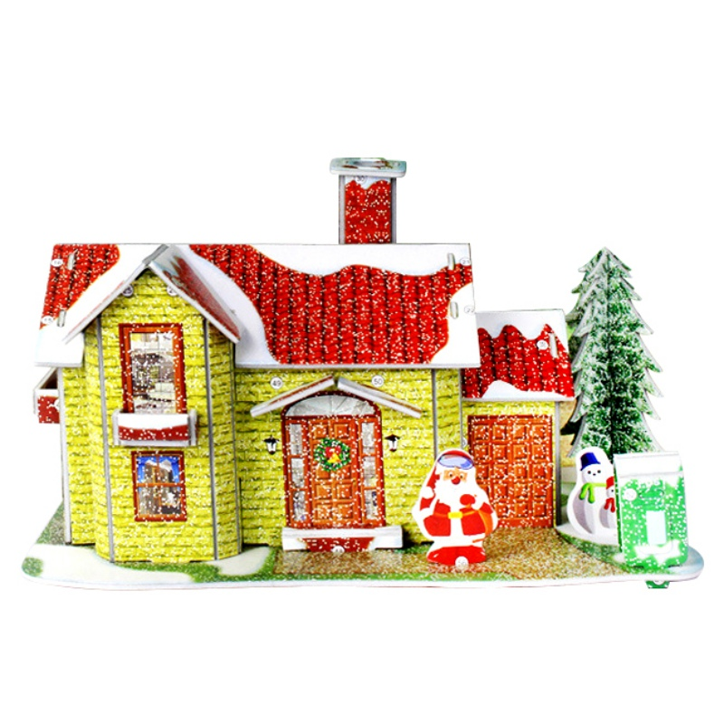 Lovely diy christmas house cartoon doll house paper craft for Home decorations with paper