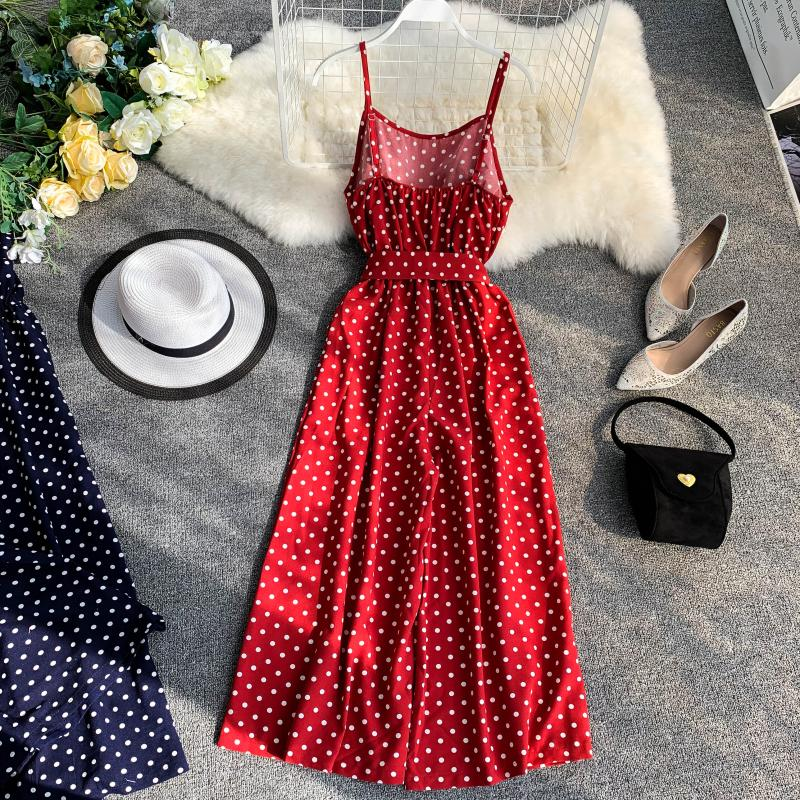 Holiday Retro Dot Print V Collar Sleeveless High Waist Broad-legged Overalls Beach Rompers Womens Jumpsuit E521 2