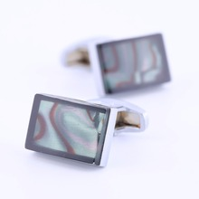 Qi Wu Enamel Patter Glass Cufflinks for Mens Retro Court Style French Shirt Cuff links Button Men Goom Jewelry Fathers Gift